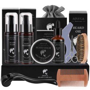 beard growth kit with beard roller and serum